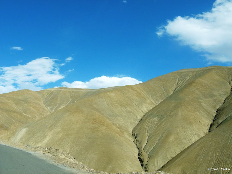 Not the skin of a prehistoric pachyderm - its weathered rock. Mulbekh - Lamayuru section on the Srinagar Leh Highway.