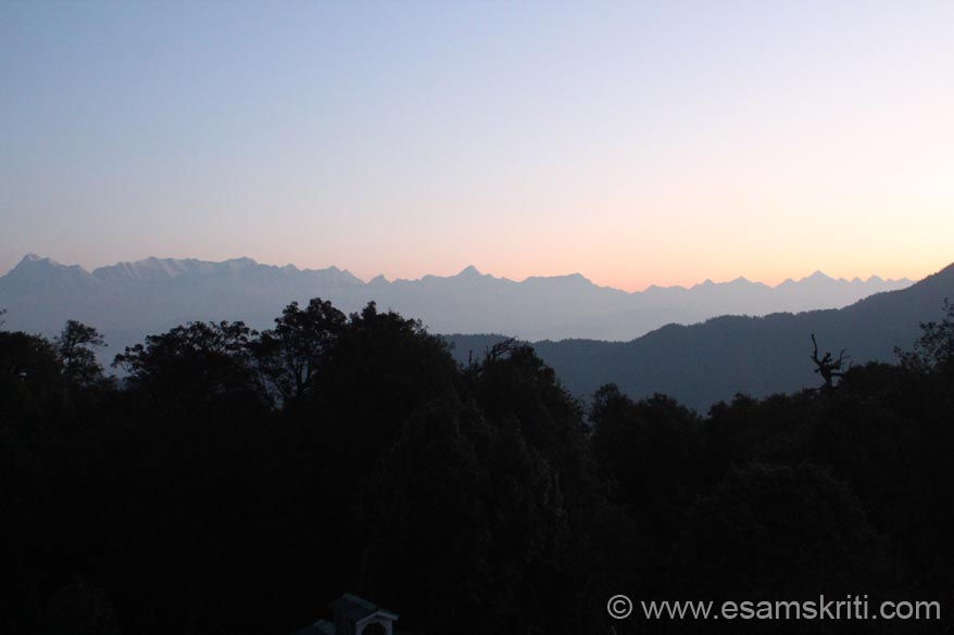 A view of the Himalayan Peaks before sun rise left to right Nanda Ghunti, Trishul, Nanda devi, Nanda kot and Panchachuli. Could not take a day view since was away but Maharaj