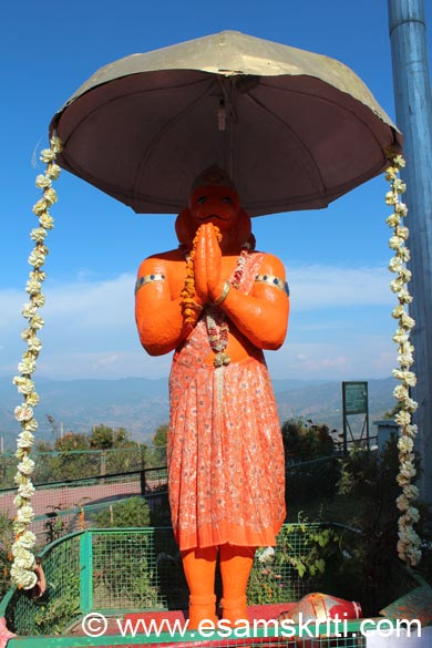 An image of Lord Hanuman is just outside the temple. Since took pic in the afternoon face not come. In case of any errors in captions please revert. Words in italics are from a handout given by