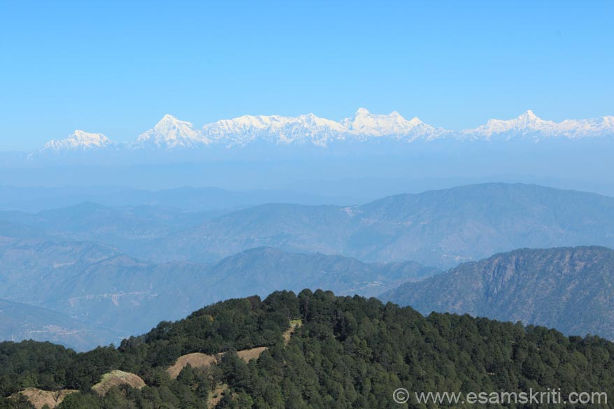 A view of the Himalayan Peaks somewhere enroute left to right Trishul, Nanda devi, Nanda kot and Nanda Ghunti. Excludes Panchachuli. Was a lovely and lonely trek thru dense forest.