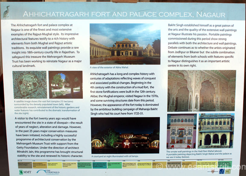 Paintings in Nagaur Fort are very good and famous. A lot of effort is being made to restore them. This pic and next one tells you about the restoration work being done by the 