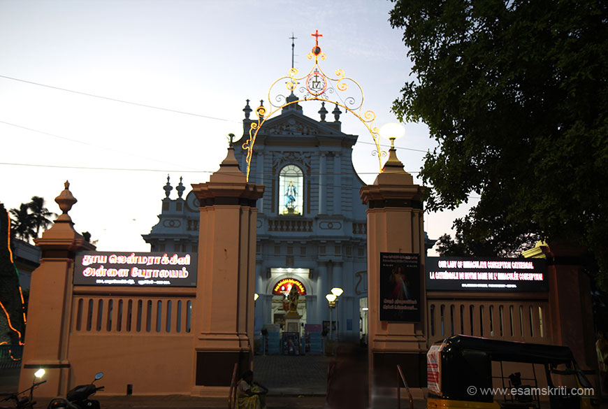 Church of the Immaculate Conception. According to locals the church was built after destroying a Ganesha temple. There is no evidence left of the temple.