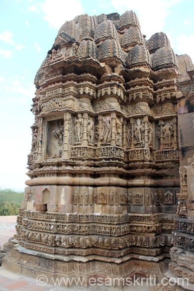 Rear side of temple. This side is damaged, not visible from front as you saw in pic no 1. Temple is named Someshwara after King Someshwar of the Panwara dynasty.