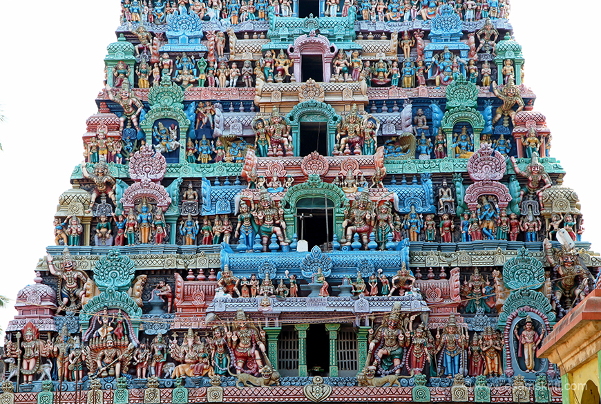 Close up of lower part of gopuram. Kirti Mukhas, to ward away evil spirits, is seen in the gopurams as in other temples.