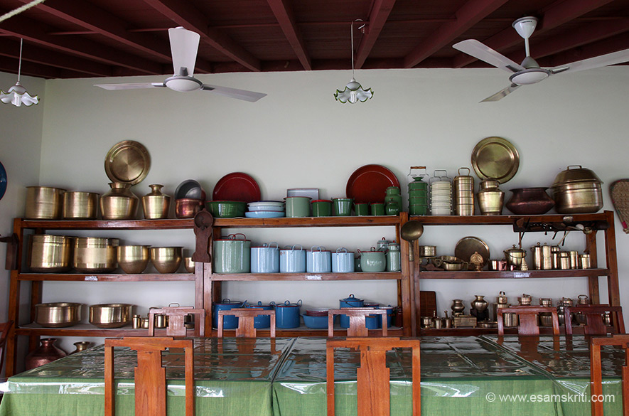 A display of utensils utilised in Chettinad homes. Of the 11,000 odd mansions only half are believed to exist today. Chettiars now live in bigger cities, come home for family functions only. I was pained to see a home where sick and aged parents lived with another elderly relative looking after them.