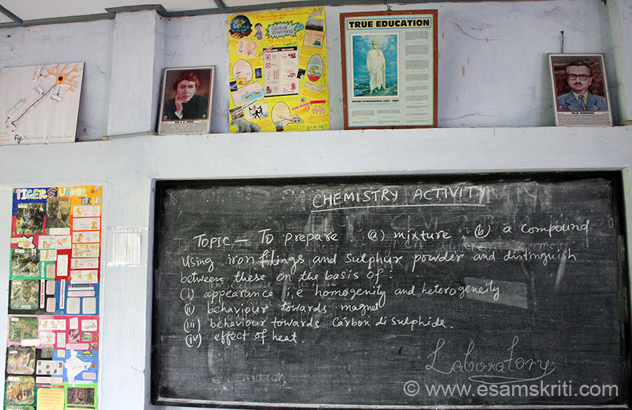 Pic in Chemistry laboratory. School has 14 teachers, non teaching staff and wardens plus a Primary Health Centre. Since the school is in a backward and poor area, VKV sponsors 26 students. Cost of sponsoring education for a girl child is Rs 12,000/ p.a. If you like to help mail Jayshri Moni. Her id is jayashri@vkvapt.org. Nos is 9401555508, 9833825381.
