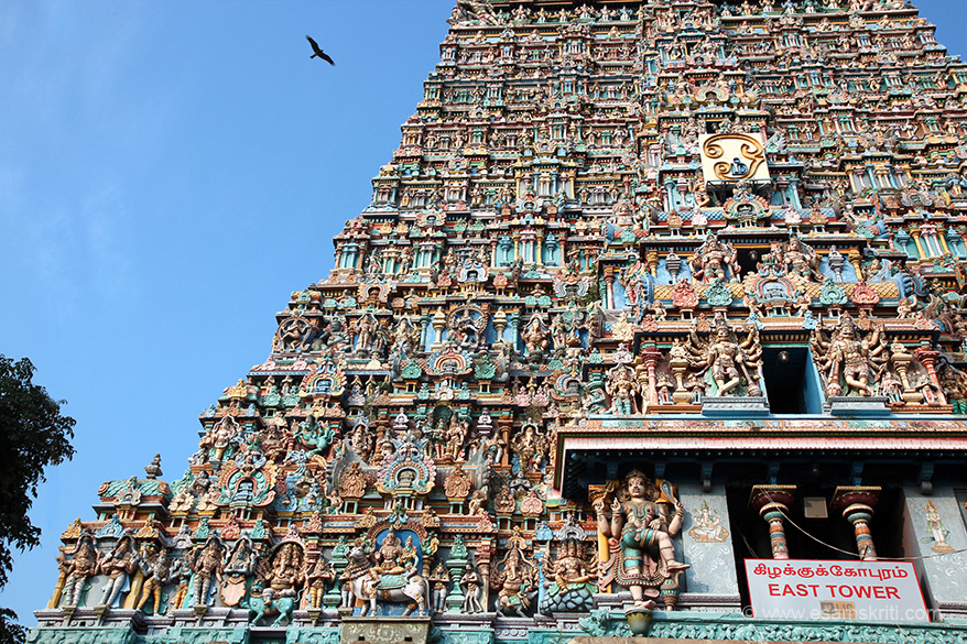 "East gopuram left side close up. ""This is a twin temple. Temple in southern side is dedicated to Devi Meenakshi and the other to Lord Sundareswarar."""