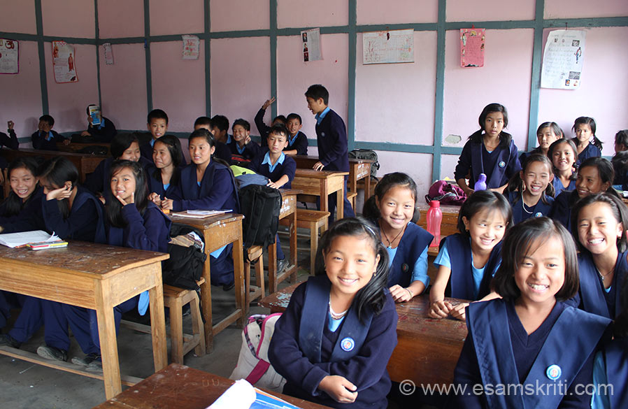 "Students of Vivekanand Kendra Ziro. The school has 583 students and is from class 2-10. It is affiliated to C.B.S.E. U see girls in class. When I saw the school looked like a scene out a Karan Johar movie in Switzerland. Very beautiful. During interaction with students found them, particularly girls, very bright. Initially they were shy but on day two they treated me like a friend, in fact pulled my leg a bit for e.g. Sir Sir, how did you become so tall? To see pics of Children of Arunachal Pradesh <a href=""http://www.esamskriti.com/photo-detail/Children-of-Arunachal-Pradesh.aspx"" target=""_blank""> Click here </a>"