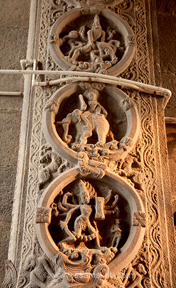 "Top is Narasimha avatar I think,  man sitting on elephant and man with eight hands weapon in hand. ""The greatness of this Arunachaleswarar temple was glorified through poems written by salivate poets Appar, Sundarar, Manickavasagar, and Sambandar.""