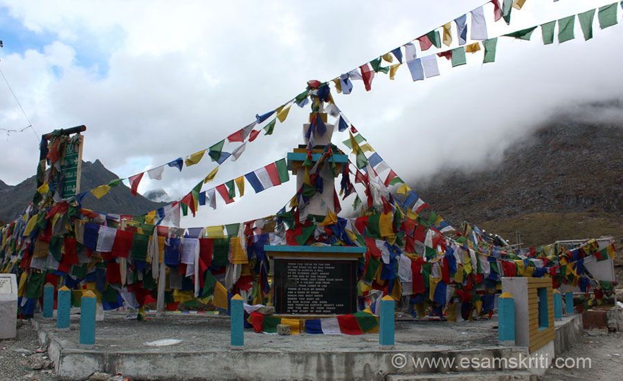 Buddhist flags greet you on crossing the welcome to Tawang gate.
