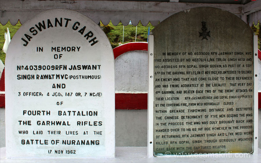 Inside Jaswantgarh War Memorial. This is about the Battle of Nuranang fought on 17/11/1962. Jaswant Singh and others belonged to Fourth Battalion - The Garwhal Rifles.  4th Garwhal
