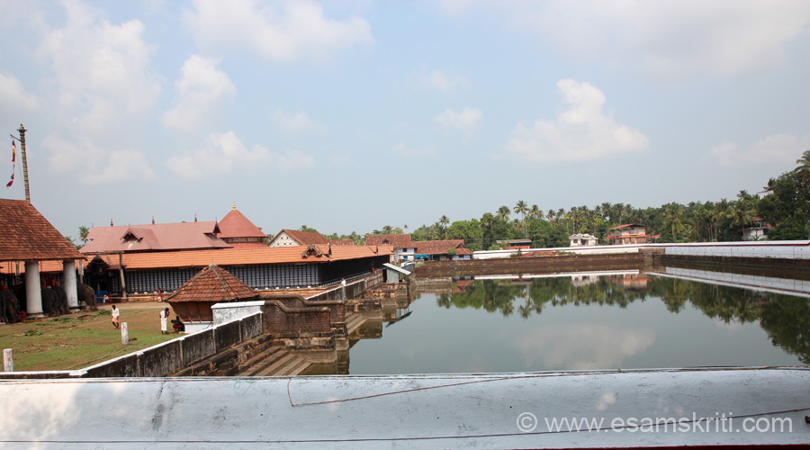 Overview of Koodalmanikyam Sree Bharatha Temple i.e. app 25 kms from Thrissur. Left of pic is temple tank. ``Koodalmanickyam is the Malayalam translation of the Sanskrit word Sangameswara.``