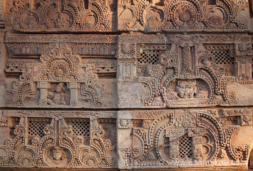 Sculptured reliefs on wall of jagamohana. Some caption material taken from The History and Culture of Indian People vol 5 by Bhartiya Vidya Bhavan.