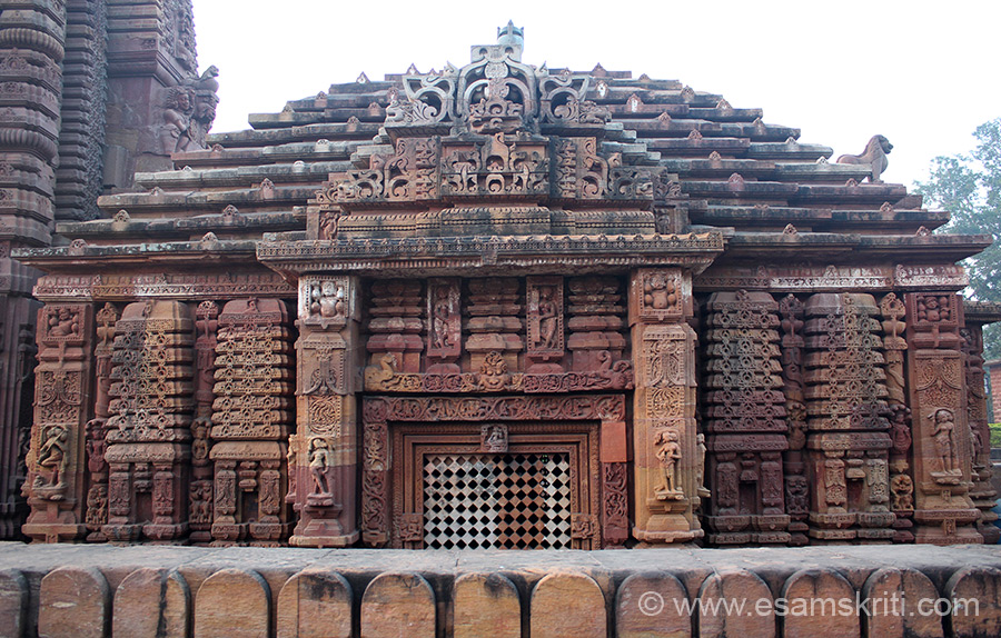 A view of the Jagamohana or entrance porch. ``The jagamohana of this late 10th century temple is now a pidha deul with decorated ceiling, carved into a lotus with eight petals``. A pidha