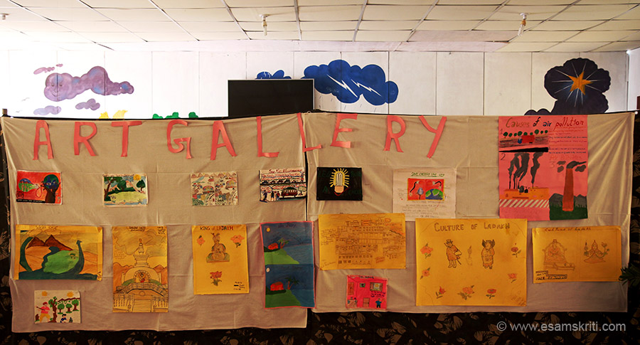 "School kids had a painting exhibition. Topics are Save energy save life, Ladakh Culture, Local Gompa, Thiksey Monastery, King of Ladakh, Causes of Air Pollution etc. To visit site of Army Goodwill Schools  <a href=""http://www.armygoodwillschool.in/"" target=""_blank"">Click here</a>"