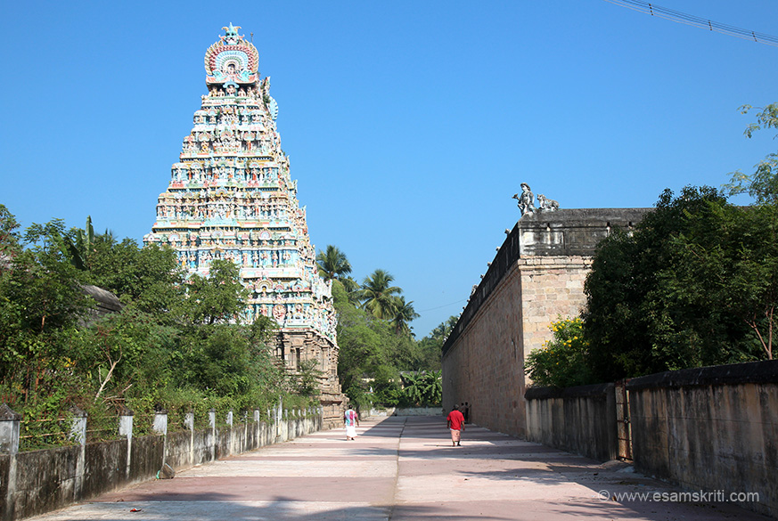 "West side gopuram on left. Parikrama round temple wall. ""There are 159 inscriptions. One of the inscriptions states that there was a theatre for enacting Dramas (Natakasala) and the artist received 1 veli (approximately 3 acre) as a gift for developing the art.""