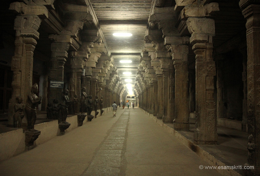 "Temple corridor, note stone images on left. ""There is also a shrine to Vishnu near the sanctum, signifying the belief that Nellai Govindan (Vishnu) visited Tirunelveli to officiate the divine marriage of Shiva and Kantimathi."""