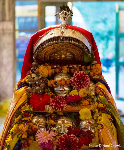 "A close-up of the ``naag devta`` from Prini. ""Goddess Hadimba arrived at the venue from Manali a day before the Rath Yatra and would leave after the festival is over."""