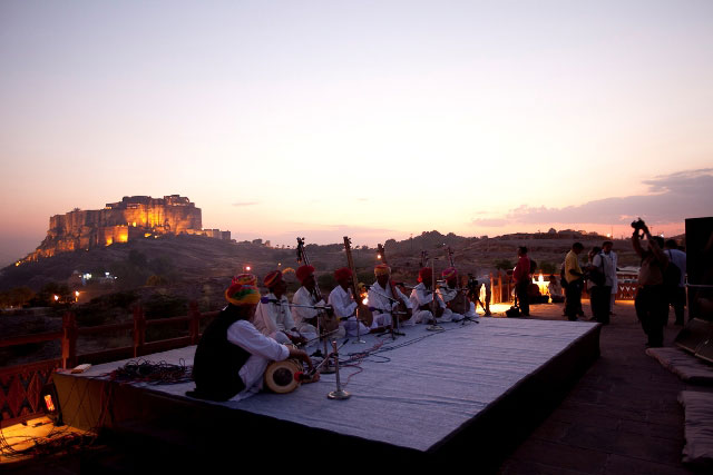 """Dusk devotional concert with the Meghwal. The Meghwal are a Hindu community from the Marwar region in Rajasthan. The community of Megh or Meghwal is synonymous with the Bhambhi. The Meghwal are well known as an occupational group engaged in tanning of hides and also working as agricultural labourers.  