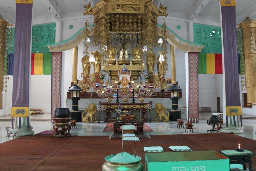 Main area in temple. Every South-East Asian and country of the Far East have different images of Buddha meaning look and temple design.