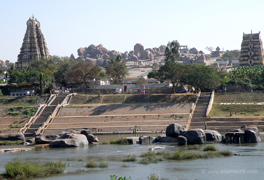Took this pic from across the Tungabhadra river. One on side of the temple is Hemakunta hill, on the other is the Tungabhadra river. In the centre of pic the small structures that you see are temples on