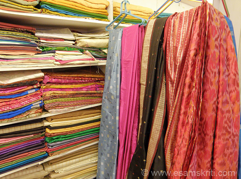 Silk sarees. ``Odisha produces some of the finest cotton, tassar and silk hand woven fabrics in India, esp. the world famous Tie & Dye (known as IKAT). The variety BOMKAI is richly brocaded in intricate patterns, woven by the ancient ``Jala`` technique n not with jacquard cards. The variety TASSAR is the hand spun wild silk woven in a wide range of counts, textures and varieties``.