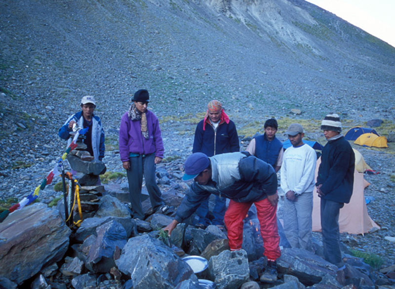 Puja at Base Camp 4320 metres.