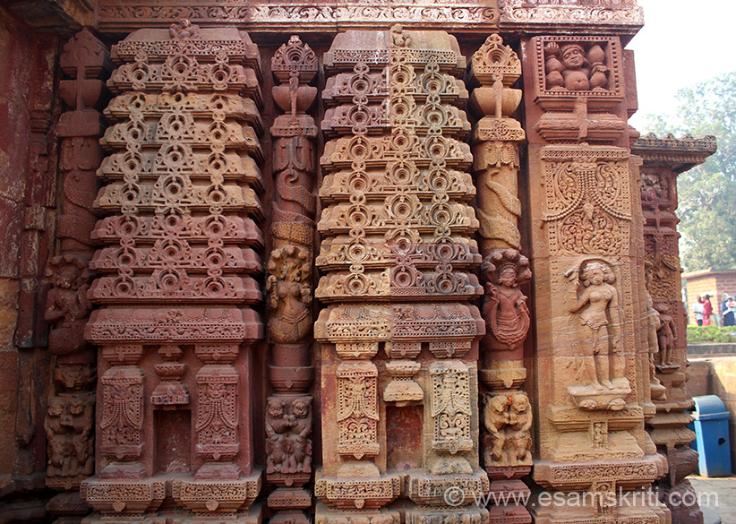 Sculptured reliefs on right side of jagamohana. Temple is dedicated to Lord Shiva.