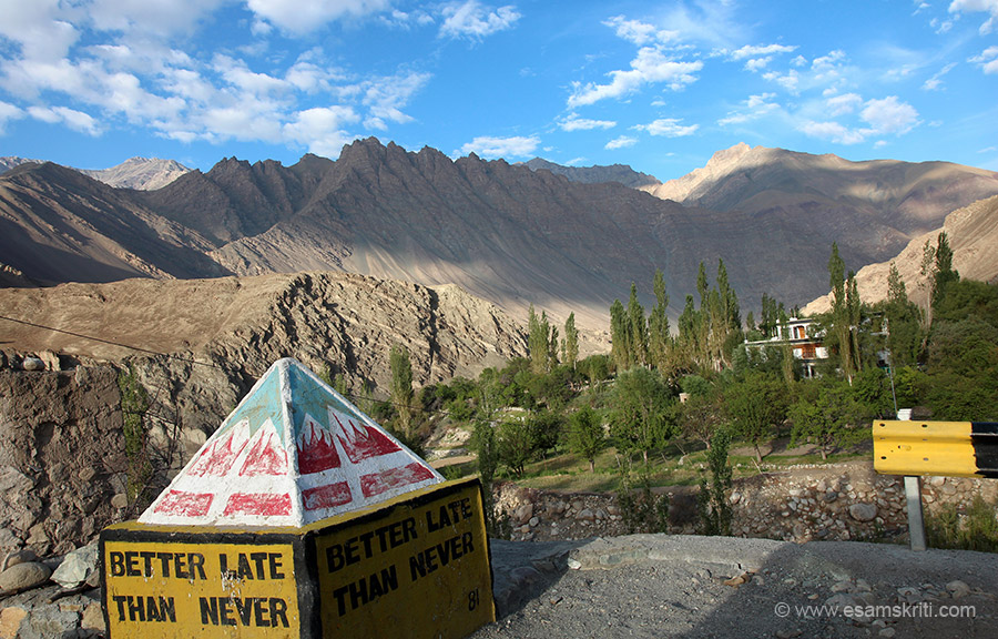 In patches there are trees all over Leh. It usually indicates the place is habituated.