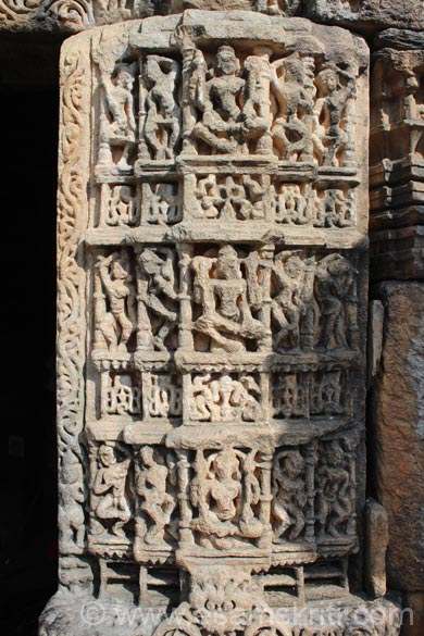 Close up of carvings right side of temple entrance. Most images been defaced but the signs of excellent workmanship remain.