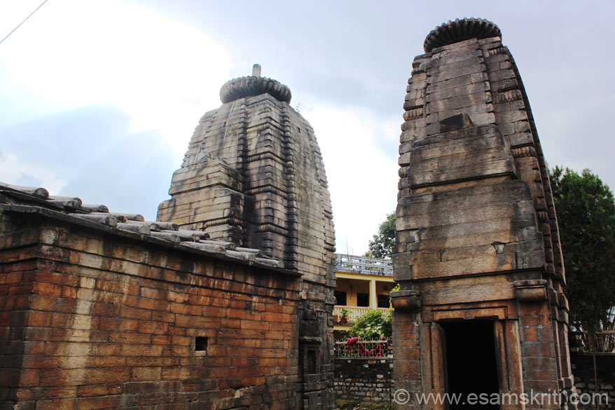 This is called Brahmani Devi mandir 12th century a.d. Note vertical pieces of stone are used to close the joints in the flat structure in front of the Shikar. Closure of joints in a similar way