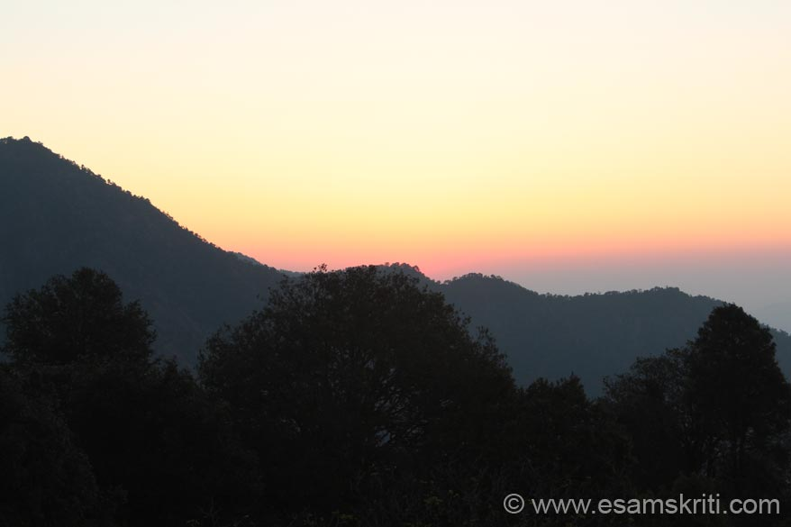 Dawn - mountain on left is Bhatkot where Lord Ram``s brother Bharat is said to have meditated.