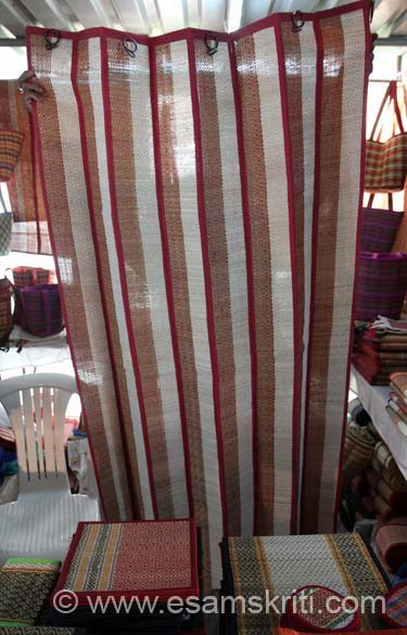 Mats made into a curtain, looks very nice and eco-friendly too.