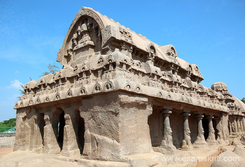 A side view of the Bhima-ratha. Mamallapuram is 58 kms from Chennai, was a prominent seaport during the time of Periplus (1st century a.d.) & finds mention in Hiuen Tsang account.  Monolithic carving continued during later periods (Tiger-cave, Pidari-ratha etc). Structural architecture was introduced on a grand scale by Pallava Rajasimha (700-728 a.d.). The grandiose Vijayanagara phase is represented here by Raya-gopuram and Talasayana-Peruma temple, juxtaposed to the carved boulder of Arjuna``s penance.