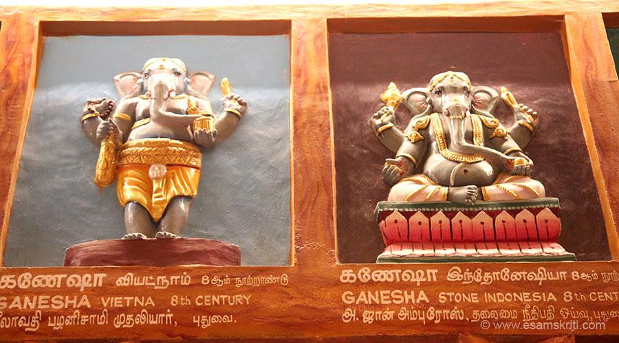 Left Ganesha Vietnam 8th century. Right Ganesha Stone Java 8th century.
