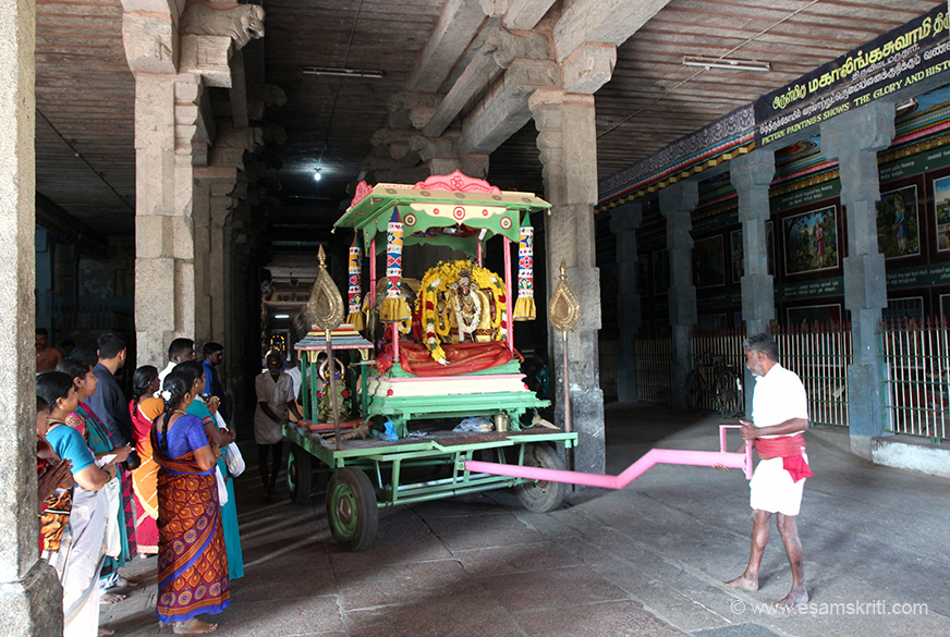 This the URCHAVA MURTHI of the main deity in the temple. The main deity in the garbagruha is usually made of granite and not moved. Hence they make a replica of the main deity in the 