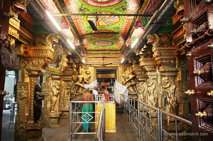 "Hall leading to sanctum. ""You climb further to reach the level where the shrine for Lord Swaminathan is built. It is believed that the sixty steps of the temple ascending to the sanctum sanctorum represent the sixty months of the ancient Tamil calendar."""