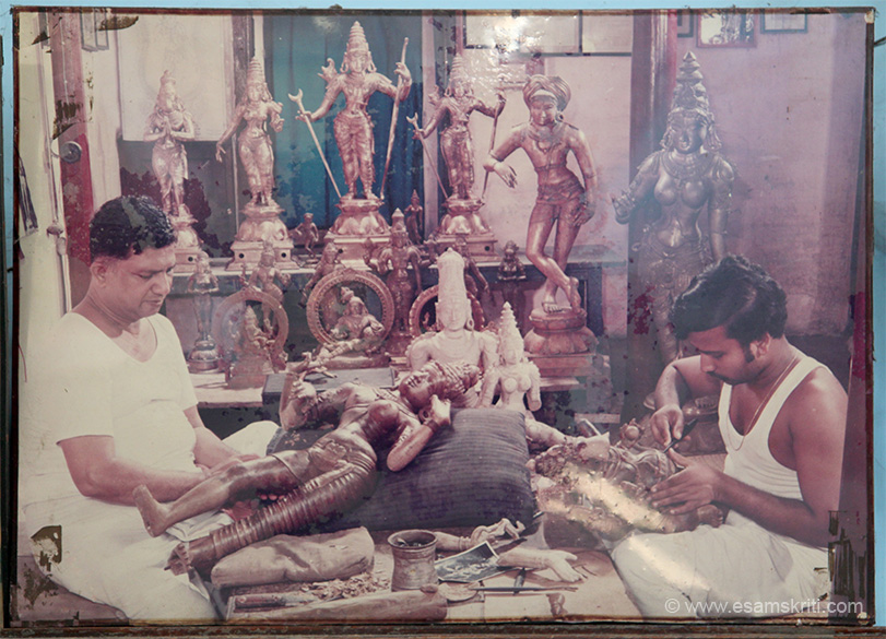 "In the neighbouring shop was this photo. They are National Award winners. They are S Devasenapathy Sthapathy Sons 0435 2454429, 2454058. Lots of their work was ready for export to temples in the U.S. They are three brothers so bigger compared to Ramalingam. To see pictures of BASTAR CRAFT <a href=""http://www.esamskriti.com/photo-detail/Bastar-Craft.aspx