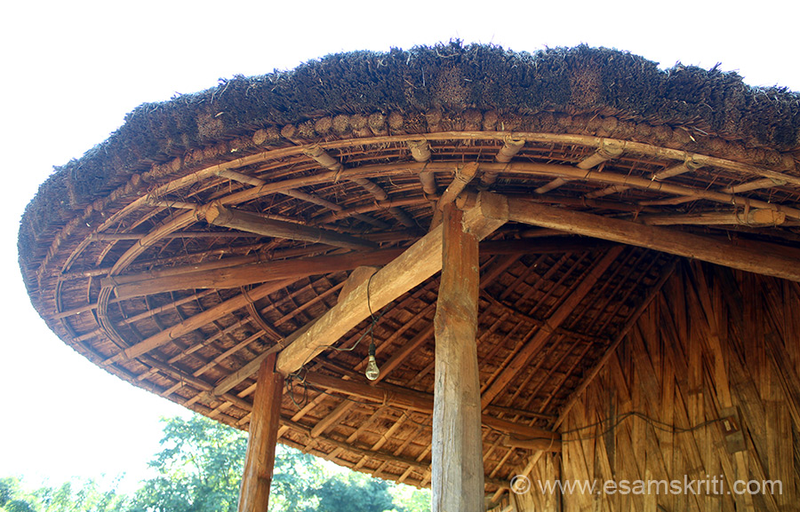 This is the shade above entrance to home. Note the intricate bamboo work.