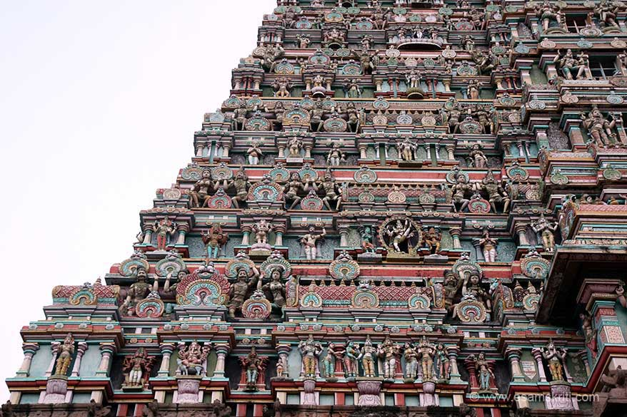 Close up of gopuram left side. Has images of Ganesha, Nataraja amongst others.