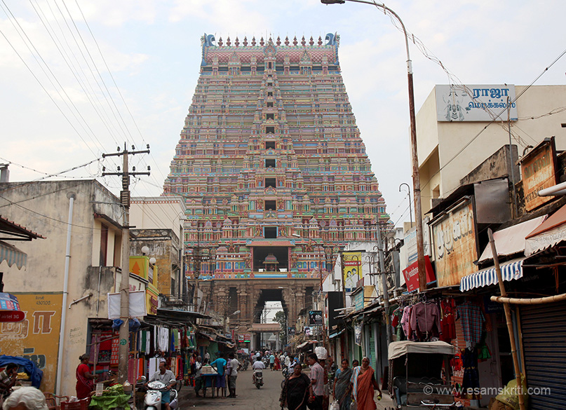 "Rear side view. ""Nayakar kings started construction of Rajagopurams about 300 years ago, was incomplete due to Muslim invasions. Sri Azhahiyasingar Jeer swamigal of Ahobila mutt built 