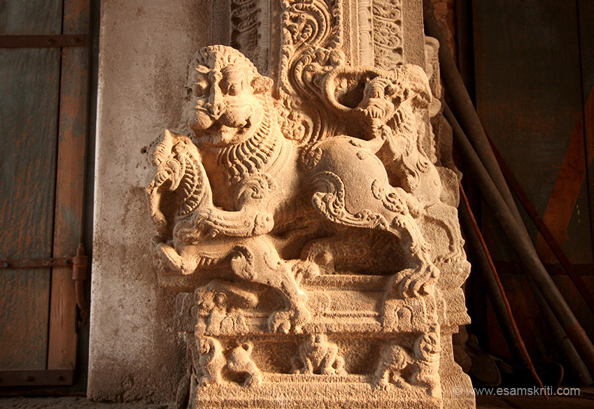 "This animal has the body of a lion and face of a tiger. Reminds me of the royal emblem of the Hoyasala dynasty that I saw at the Belur Temple. To see pic of emblem <a href=""http://www.esamskriti.com/photo-detail/Belur-Temples.aspx