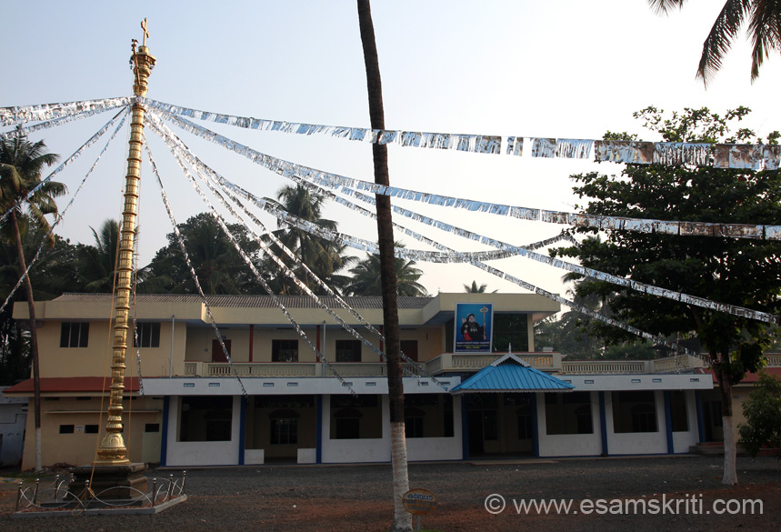On left you see Dwajastambha. On important occasions like temple festivals, the flag is hoisted for the duration of the festival. In Guruvayur temple an image of Krishna was on top of the Dwajastambha. Instead here you see CROSS at St George Jacobite Syrian Church, Kalady. Saw churches with Deepsthambs or metal oil lamps. When I expressed surprise locals told me that this is found in churches of all denominations i.e.Catholic, Syrian, Church of South India etc. They added the Indian words are used in lieu of Christian ones ie Veda for Bible, Devalaya for Church, Abhishekam for Consecration etc.