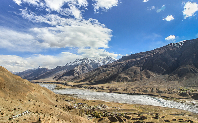 Spiti river as seen from Kye Monastery. Editor I did Spiti Valley years ago. It is amazing, wow, lovely people. Route is Manali, Batal, Losar, Kaza, Tabo. U drive from here to Kalpa from where