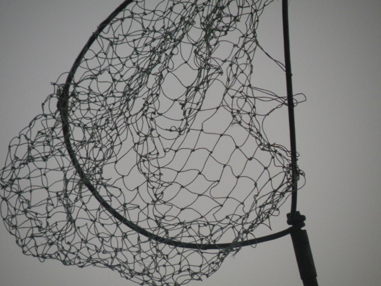 A net resembling a basketball hoop, flying above the MV Bholanath.