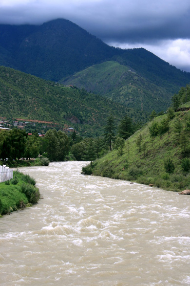 This is the Thimphu river, flowing in a north-south direction.