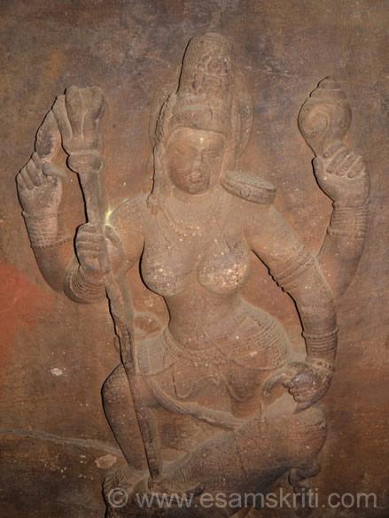 U see Mahishashur Mardhini. Mahisha means Male Buffalo. Asura means demon. Mardhini means slay. Goddess Adishakti slaying Mahishahur with a Trishul ie carved in the sculpture.