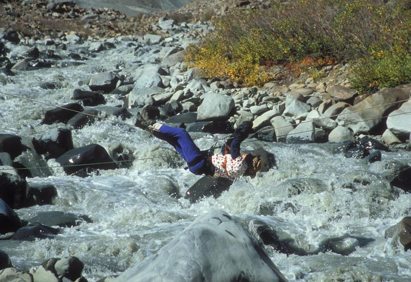 River crossing. Very exciting the first few times I did it but no longer.