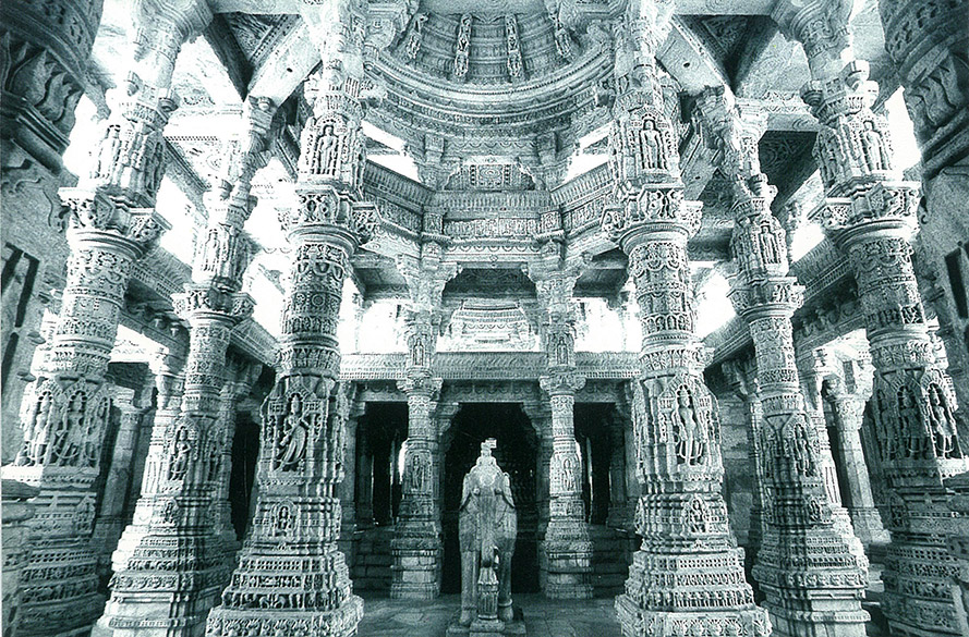 The main temple has got a double mandap. You see 'Megh Mandap'. It is three storied building erected on carved pillars. You see the pillars. In the next picture you see the mandap.