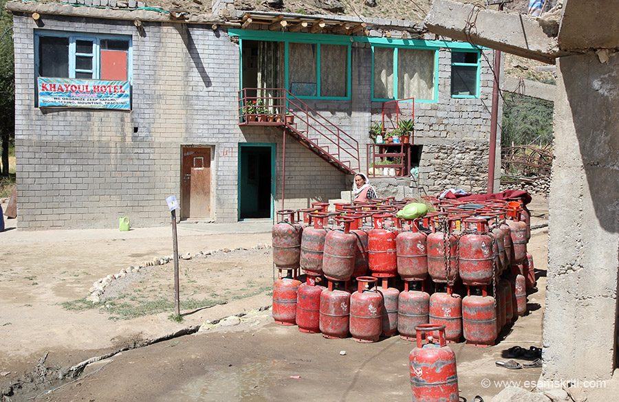 Few hotels in the village. Villagers collect empty gas cylinders and keep in one place. The day I went seemed to be the day when truck with refilled cylinders was to come to the village hence